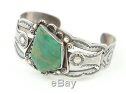 Bracelet Manchette Navajo Signé Fred Harvey Era Turquoise Vert Turquoise