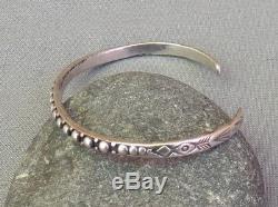 Bracelet Manchette Perlé Argenté Fred Harvey Era Vintage