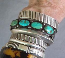 Bracelet Manchette Rangée Vintage Argenté Fred Harvey Era Argenté Bleu Vert