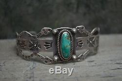 Bracelet Manchette Snake Navajo Vtg Vieux Pion Thunderbird Fred Harvey Argent Turquoise