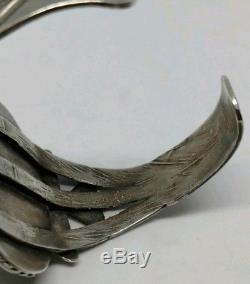 Bracelet Manchette Turquoise En Argent Sterling De Première Qualité Fred Harvey Époque Dry Creek Des Années 1930