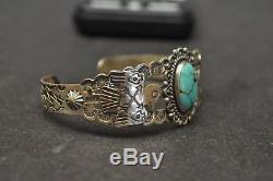 Bracelet Manchette Turquoise En Argent Sterling Vtg Fred Harvey Époque Thunderbird 19.5g