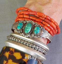Bracelet Manchette Turquoise Vert Estampillé Vintage Fred Harvey Era