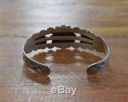 Bracelet Manchette Turquoise Vintage En Argent Sterling Fred Harvey Era