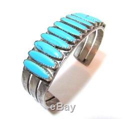 Bracelet Manchette Turquoise Vintage Navajo En Argent Sterling, Style Fred Harvey