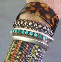 Bracelet Manchette Vintage Doré Perlé Estampé Fred Harvey Era En Argent Sterling