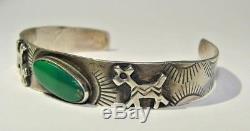 Bracelet Manchette Vintage En Argent Sterling Avec Hareng Vert Fred Harvey Era Dog Horse