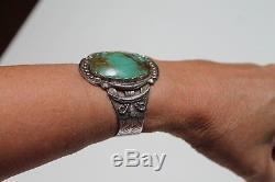 Bracelet Manchette Vintage En Argent Sterling Et Turquoise Fred Fred Harvey