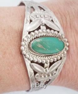 Bracelet Manchette Vintage En Argent Sterling Turquoise Fred Harvey Era Avec Flèche
