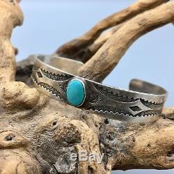 Bracelet Manchette Vintage En Argent Turquoise Et Argent Sterling D'époque Fred Harvey