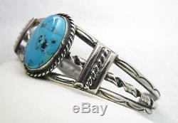 Bracelet Manchette Vintage Navajo Fred Harvey Era Morenci En Argent Sterling Avec Turquoise