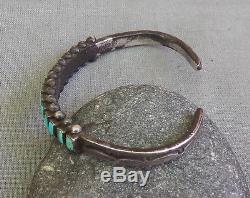 Bracelet Manchette Vintage Row Fred Harvey Era En Argent Turquoise