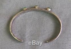 Bracelet Manchette Vintage Turquoise D'époque Fred Harvey Époque Vintage En Argent Estampé 3