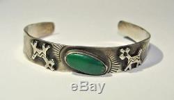 Bracelet Manchette Vintage Turquoise En Argent Sterling Fred Fred Era