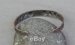 Bracelet Manchette Vintage Vert Argenté Estampé Estampé Vert Fred Harvey