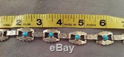 Bracelet Navajo Argent Vintage, Lien Turqouise, Fred Harvey