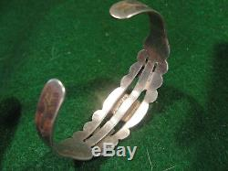 Bracelet Old Fred Harvey Era Navajo Turquoise En Argent Sterling Bracelet Thunderbird