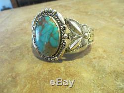 Bracelet Turquoise Royston En Argent Sterling Extra Fin Fred Harvey Era Navajo