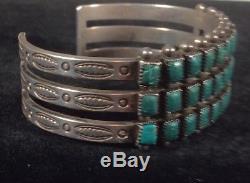 Bracelet Turquoise Trois Rangs En Argent Sterling Fred Harvey Vintage