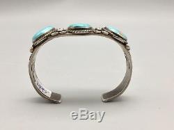 Bracelet Turquoise Vintage, Lourd, En Argent Sterling De L'ère Fred Harvey