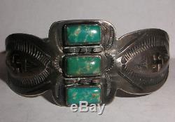 Bracelet Turquoise Vintage Navajo En Argent Sterling