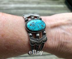 Bracelet Vintage Fred Harvey Era En Argent Et Turquoise