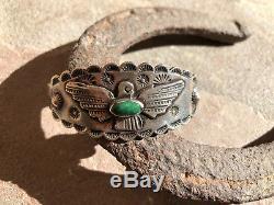 Bracelet Vintage Fred Harvey Era Manchette Argent Turquoise Thunderbird Navajo