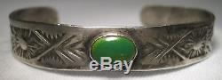 Bracelet Vintage Fred Harvey Era Vert Turquoise & Argent Massif L411