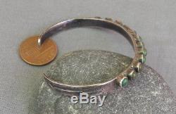 Bracelet Vintage Manchette En Argent Turquoise Row