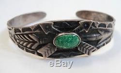 Bracelet Vintage Navajo Indien En Argent Et Turquoise Avec Des Flèches D'époque Fred Harvey