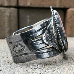 Bracelet-manchette Large Estampillé Large En Argent Pétrifié Et Argent Sterling Vtg Fred Harvey