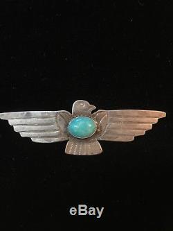 Broche / Épinglette Thunderbird Turquoise Fred Harvey En Argent Sterling