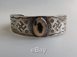 Coin Argent Vtg Navajo Agate De Mousse Tourbillonnant Rondins Ancien Bracelet Manchette Fred Harvey