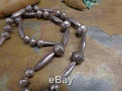 Collier En Perle De Banc Fait Main Argent Navajo