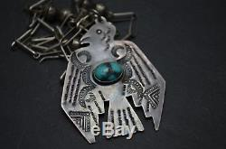 Collier Rare Vtg Old Pawn Navajo Collier Fred Harvey Era Silver & Turquoise Thunderbird