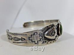 Début Fred Harvey Era Navajo Tourbillon Pièce De Monnaie Silver Turquoise Manchette Bracelet
