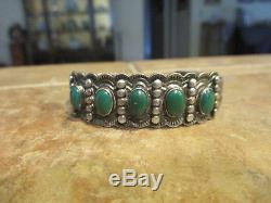 Des Années 1920 Fred Harvey Era Zuni Indien Fait À La Main Cerrillos Turquoise Row Bracelet