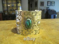 Dynamic Vieux Fred Harvey Era Navajo En Argent Sterling Turquoise Design Bracelet