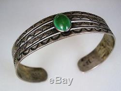 Early Fred Harvey Era Navajo Estampillé En Argent Sterling Et Bracelet Turquoise Vert