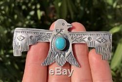 Énorme Vieux Fred Harvey Navajo Thunderbird Morenci Broche Turquoise En Argent Massif