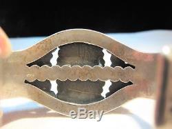 Estate Énorme Lourd Fred Harvey Era Argent Sterling Turquoise Manchette Bracelet K554