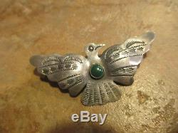 Extra Fine Vieux Fred Harvey Era Navajo Argent Sterling Turquoise Thunderbird Pin