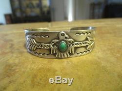 Extra Scarce Vieux Fred Harvey Navajo 900 Pièce Argent Thunderbird Arrow Bracelet