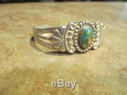 Fine Old Fred Harvey Époque Bracelet Navajo En Argent Sterling Avec Turquoise