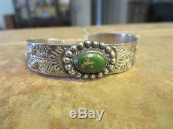 Fine Old Fred Harvey Epoque Navajo Bracelet En Argent Sterling Cerrillos Turquoise