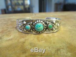 Fine Old Fred Harvey Era Navajo Argent Turquoise Arrowhead Bracelet