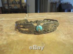Fine Vieux Fred Harvey Era Navajo Sterling Silver Turquoise Bracelet Thunderbird