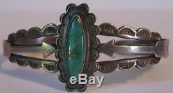 Fred Harvey Bracelet Manchette Vintage Flèches Turquoises Indiennes Navajo, Argent