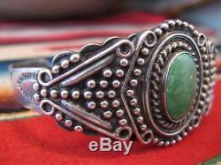 Fred Harvey Era Argent Argent Argent Navajo Indien Cuff Bracelet Turquoise Vtg
