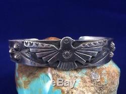 Fred Harvey Era Bell Poste De Traite Navajo Argent Bracelet Manchette